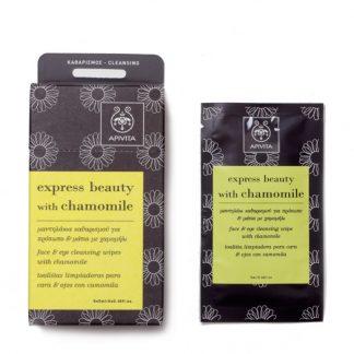 Apivita Express Beauty Υγρά Μαντηλάκια Καθαρισμού για το Πρόσωπο & τα Μάτια με Χαμομήλι 1τμχ