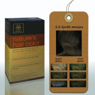 Apivita Nature's Hair Color Μόνιμη Βαφή Μαλλιών 6.0 Ξανθό Σκούρο