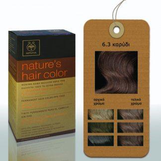 Apivita Nature's Hair Color Μόνιμη Βαφή Μαλλιών 6.3 Καρυδί
