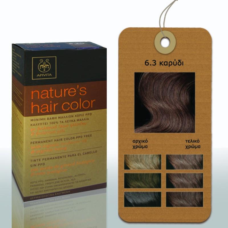 Apivita Nature s Hair Color Μόνιμη Βαφή Μαλλιών 6.3 Καρυδί 09abe971302