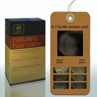 Apivita Nature's Hair Color Μόνιμη Βαφή Μαλλιών 6.7 Ξανθό Σκούρο Μπέζ