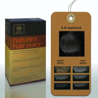 Apivita Nature's Hair Color Μόνιμη Βαφή Μαλλιών 4.0 Καστανό