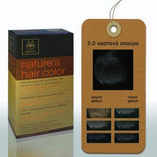 Apivita Nature's Hair Color Μόνιμη Βαφή Μαλλιών 3.0 Καστανό Σκούρο