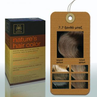 Apivita Nature's Hair Color Μόνιμη Βαφή Μαλλιών 7.7 Ξανθό Μπέζ