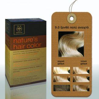 Apivita Nature's Hair Color Μόνιμη Βαφή Μαλλιών 9.0 Ξανθό Πολύ Ανοιχτό