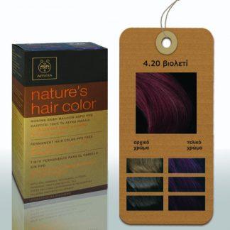 Apivita Nature's Hair Color Μόνιμη Βαφή Μαλλιών 4.20 Βιολετί