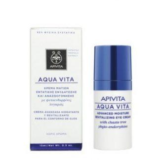 Apivita Aqua Vita Κρέµα Ματιών 24ης Ενυδάτωσης και Αναζωογόνησης µε Λυγαριά και Ρούσκο 15ml