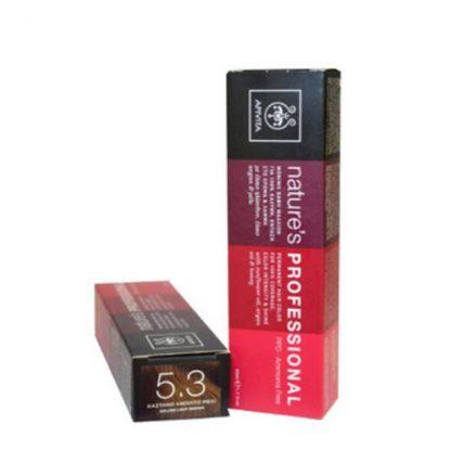 Apivita Nature's Hair Color Professional Μόνιμη Βαφή Μαλλιών 5.3 Καστανό Ανοιχτό Μελί