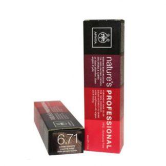 Apivita Nature's Hair Color Professional Μόνιμη Βαφή Μαλλιών 6.71 Ξανθό Σκούρο Σαντρέ Μπέζ