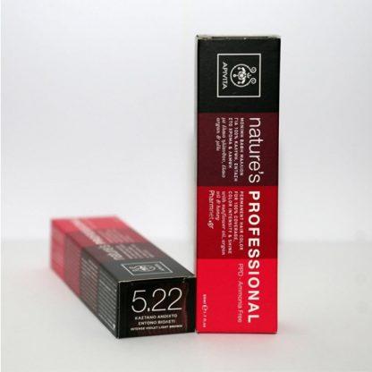 Apivita Nature's Hair Color Professional Μόνιμη Βαφή Μαλλιών 5.22 Καστανό Ανοιχτό Βιολετί