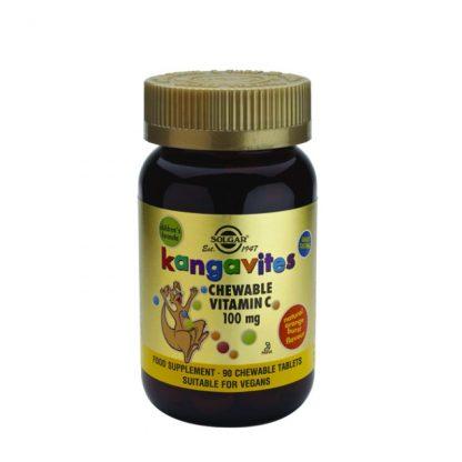 Solgar Kangavites Vitamin C 100mg 90 μασώμενα δισκία Πορτοκάλι