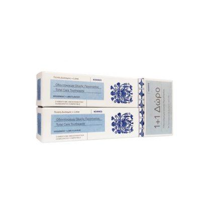 Korres Οδοντόπαστα Ολικής Προστασίας με Δυόσμο & Lime 2x75ml