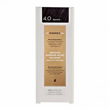 Korres Abyssinia Superior Gloss Colorant Βαφή Μαλλιών 4,0 Καστανό