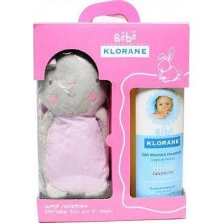 Klorane Bebe Gel Douceur Moussant 2X500ml & Δώρο Ροζ Κουνελάκι