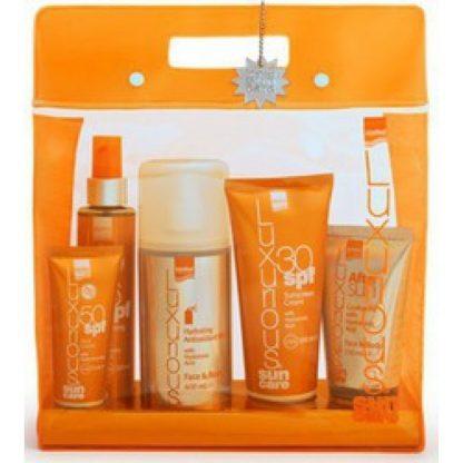 Luxurious Sunscreen Cream SPF30 200ml, Face Cream SPF50 75ml, Luxurious Suncare Tanning Oil Spf6 200ml, After Sun Cooling Gel 150ml & Hydrating Antioxidant Mist 400ml