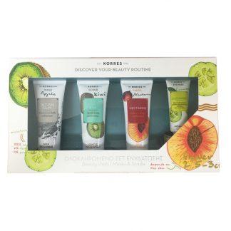Korres Set Ενυδάτωσης με Μάσκα για Βαθύ Καθαρισμό Natural Clay & Kiwi Scrub Ήπιας Απολέπισης & Μάσκα Εντατικής Ενυδάτωσης Nectarine & Μάσκα Ματιών Cucumber