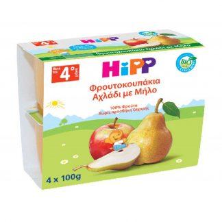 Hipp Φρουτόκρεμα Μήλο με Αχλάδι Βιολογικής Καλλιέργειας 4X100gr