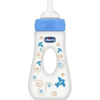 Chicco Well Βeing Πλαστικό  Μπιμπερό με Λαβή Μπλε με Θηλή Σιλικόνης Γρήγορης Ροής 240ml 20625-20