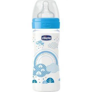 Chicco Well Being Μπιμπερό Πλαστικό Μπλε με Θηλή Σιλικόνης Κανονική Ροή 250ml 20623-20