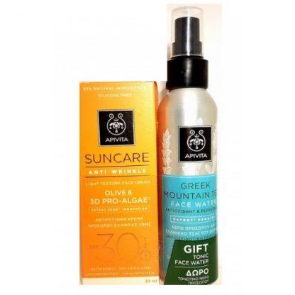 Apivita Suncare Anti-Wrinkle Face Cream Spf30 with Olive and Pro-Algae 50ml & Δώρο Face Water Green Mountain 100ml