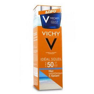 Vichy Ideal Soleil SPF50 Χρώμα & Ματ Αποτέλεσμα 50ml & Vichy Aqualia Thermal Night Spa 15ml