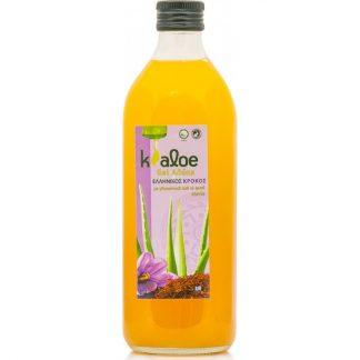 Kaloe Gel Φυσικός Χυμός Βιολογικής Αλόης με Στέβια με Κρόκο 1lt