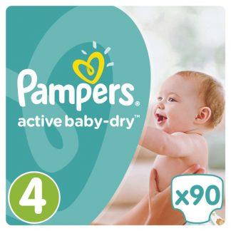 Pampers Πάνες Active Baby-Dry Μέγεθος 4 (Maxi) 8-14 kg, 90 Πάνες