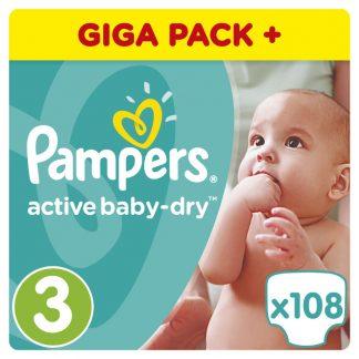 Pampers Πάνες Active Baby-Dry Μέγεθος 3 (Midi) 5-9Kg 108 Πάνες