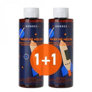 Korres Wash Me Παιδικό Σαμπουάν & Αφρόλουτρο 2 σε 1 με άρωμα Πεπόνι 2X250ml
