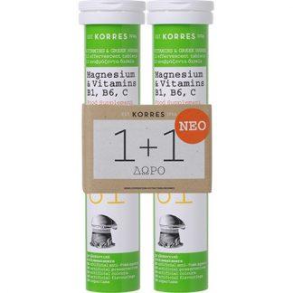 Korres Magnesium & Vitamins B1, B6, C 2 x 12 αναβράζοντα δισκία