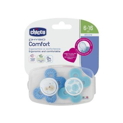 Chicco Physio Comfort 6-16m Πιπίλα Σιλικόνης Σιέλ - Μπλε 2τμχ 74933-21